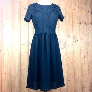 Vintage Black Lace Chiffon Midi Evening Dress M